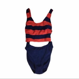 Vintage Woven Cutout One Piece Swimsuit